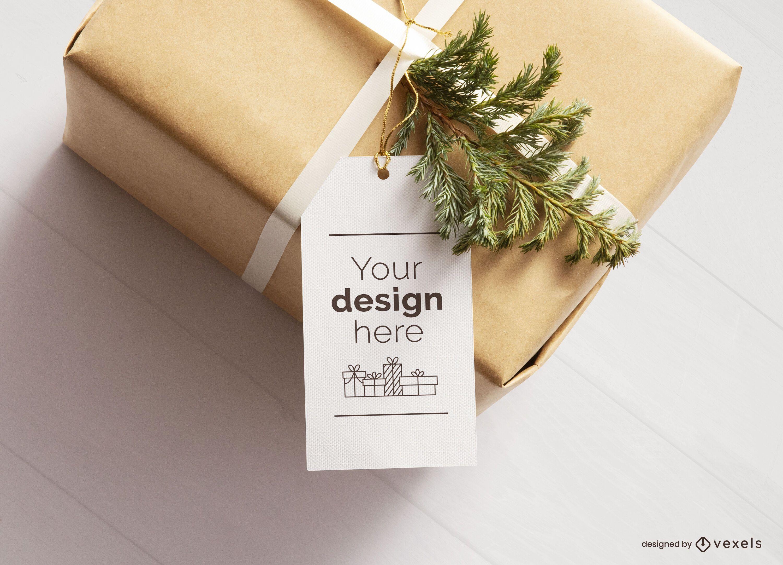 Christmas present tag mockup