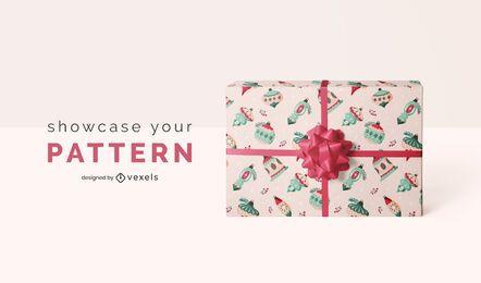 Patrón de papel de regalo maqueta de navidad