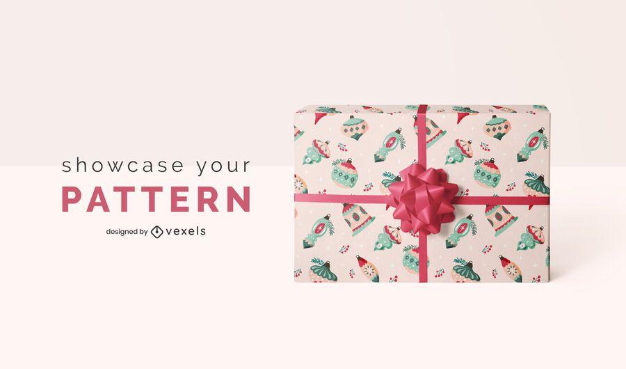 Gift wrap pattern christmas mockup