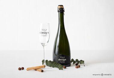 Glass bottle mockup composition