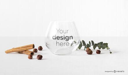Composição de maquete de copo de vidro
