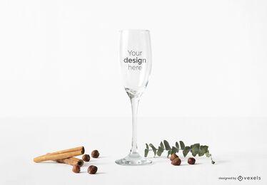 Composición de maqueta de copa de champán