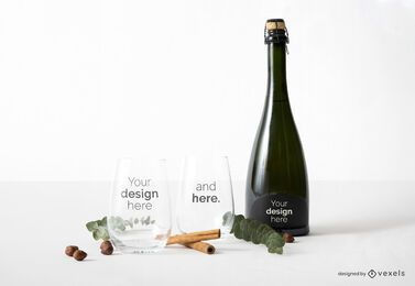 Composición de maquetas de vasos y botellas