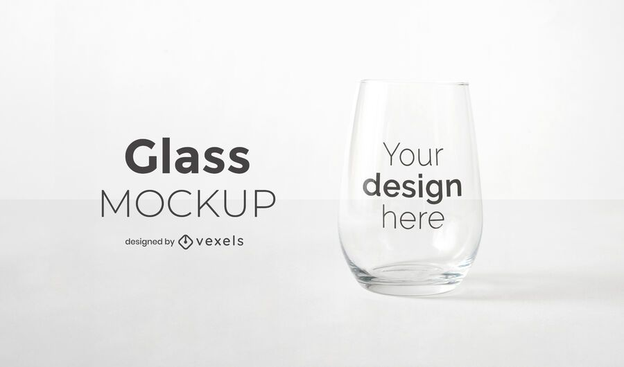 Stemless wine glass mockup design