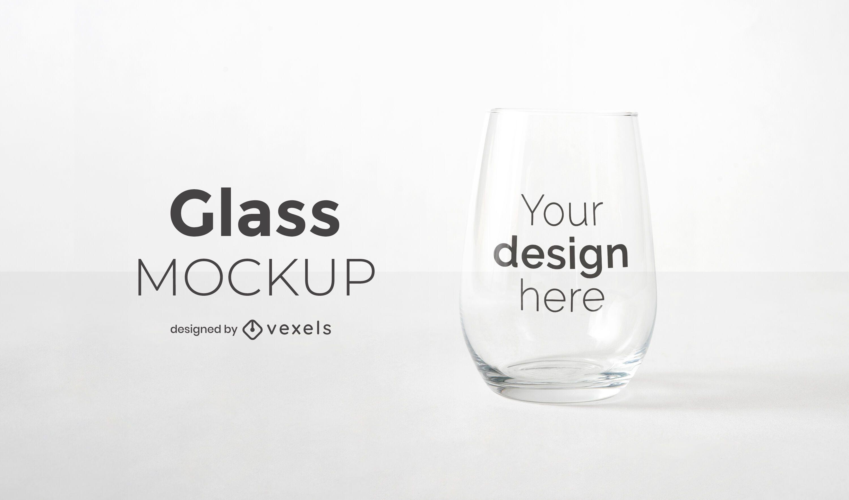 Stemless wine glass mockup design