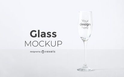Champagne glass mockup design