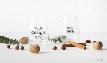 Diseño de maqueta de vasos de vidrio