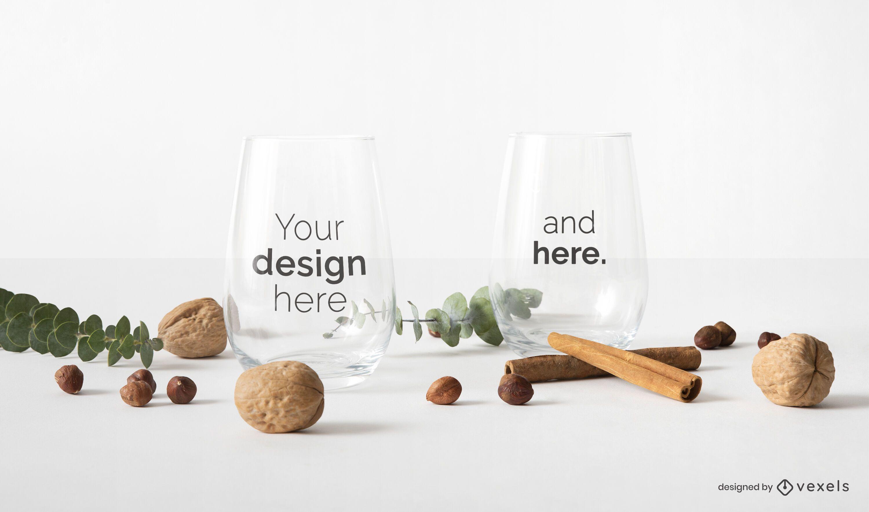 Glass cups mockup design