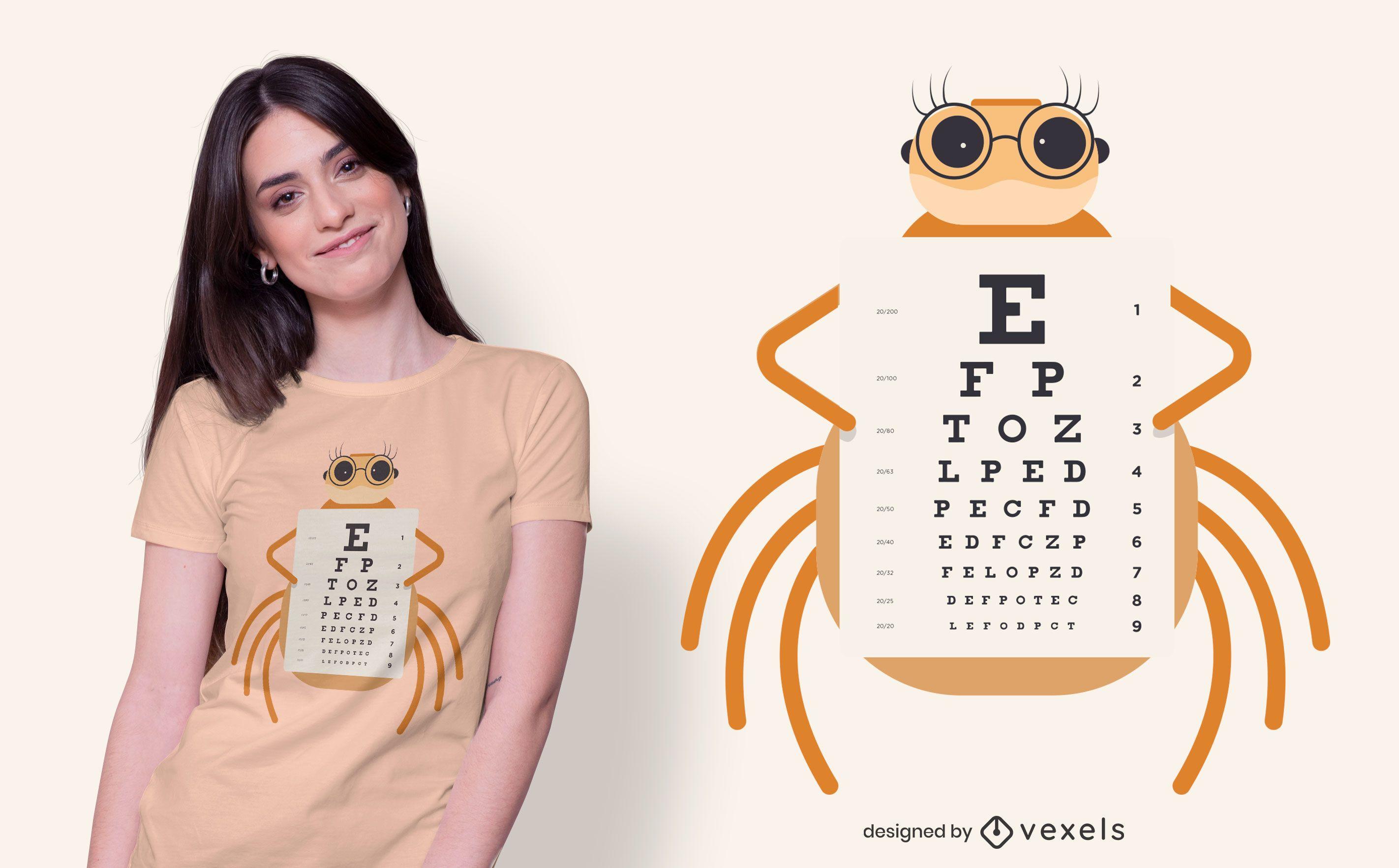 Diseño de camiseta de gráfico ocular de araña