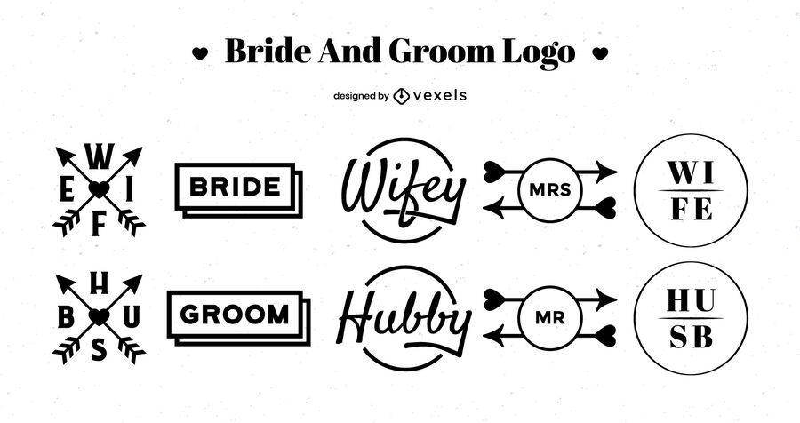 Paquete de diseño de logotipos de novios
