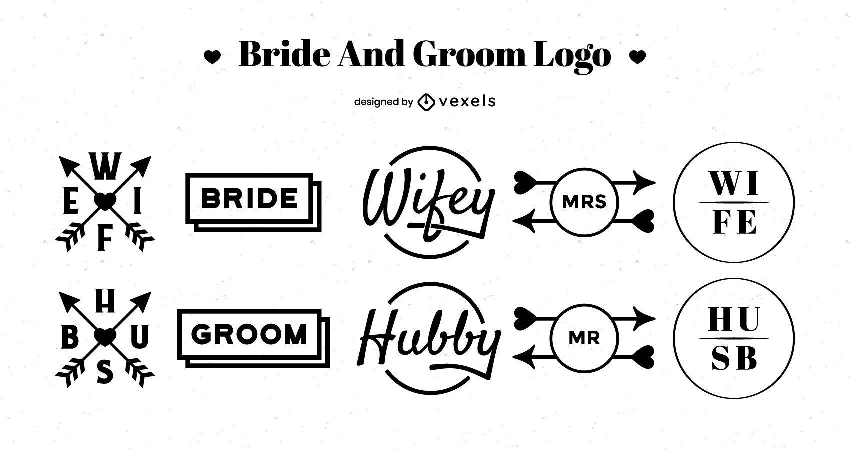 Bride and Groom Logo Design Pack