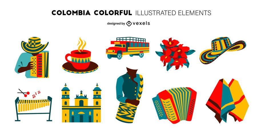Pacote de Design de Elementos Coloridos da Colômbia