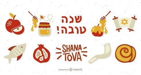 Pacote de elementos ilustrados de Rosh Hashaná