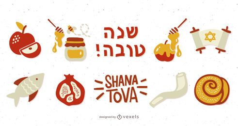 Rosh Hashanah Illustrated Elements Pack