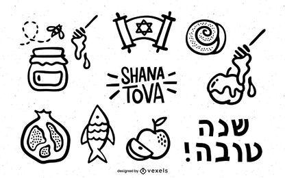 Pacote de Doodle de Traço de Rosh Hashanah