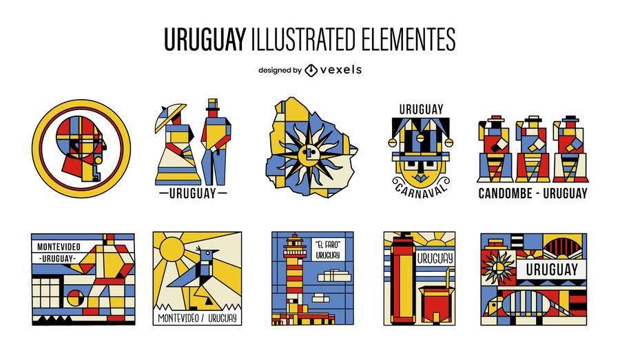Pacote de Elementos Ilustrados do Cubismo Uruguai
