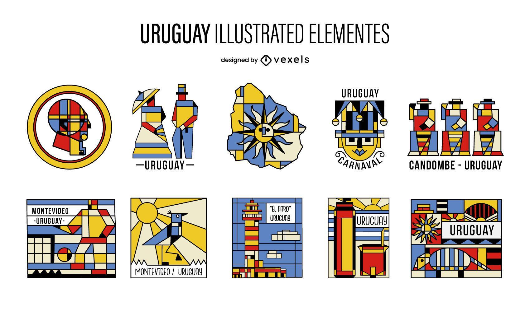 Paquete de elementos ilustrados del cubismo de Uruguay