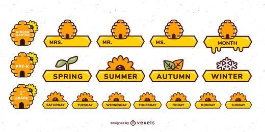 Conjunto de etiquetas de abejas decorativas en el aula
