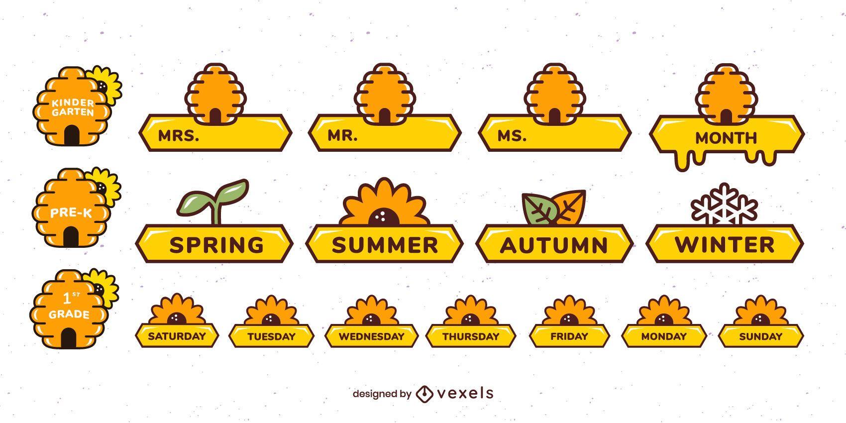 Conjunto de etiquetas de abejas decorativas para el aula