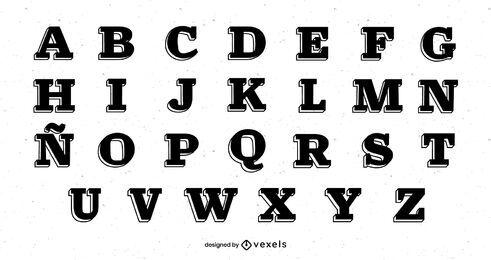 Paquete de Alfabeto Serif Cuadrado
