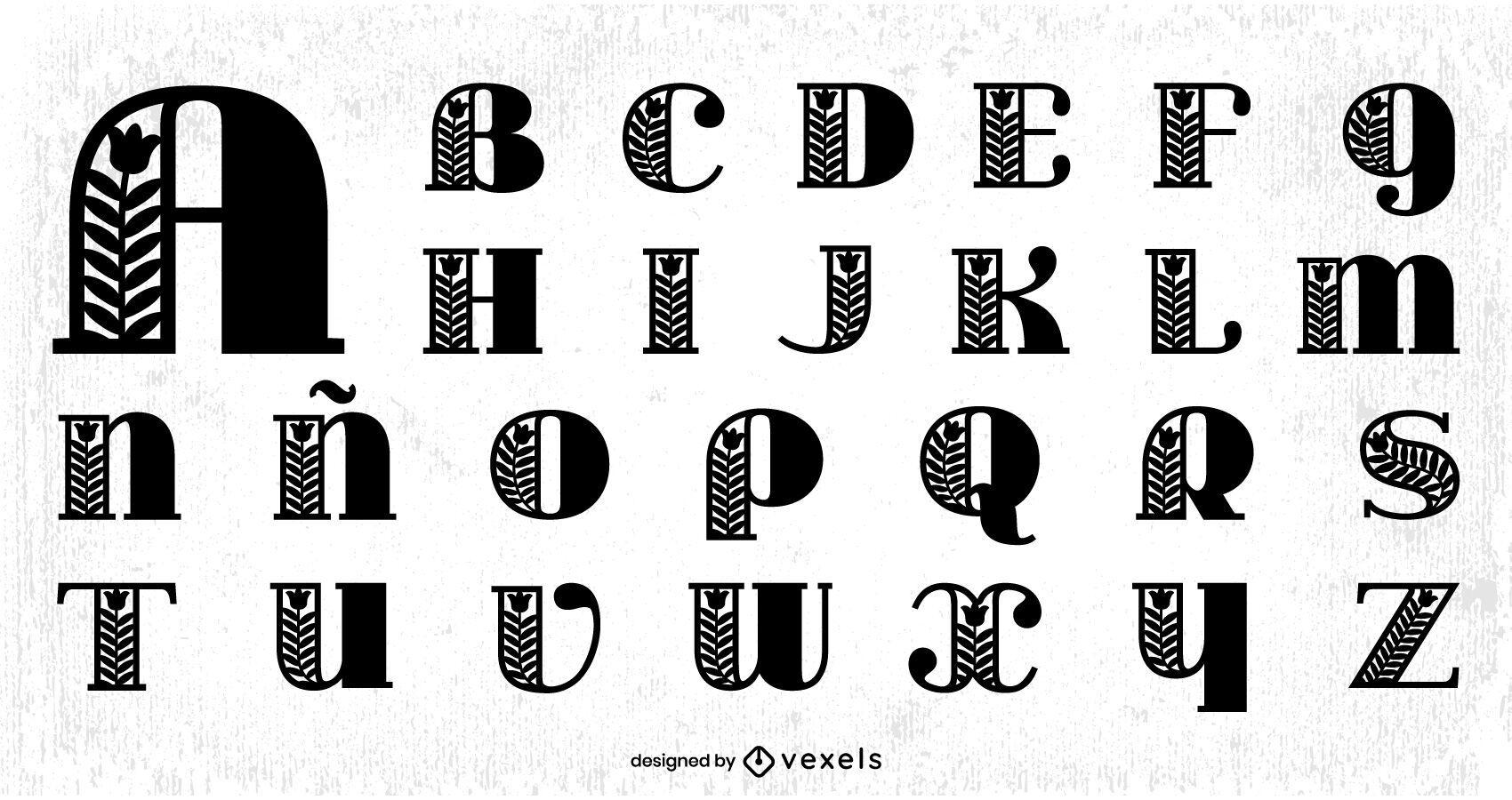 Paquete de letras Alphabet Ornamental Serif
