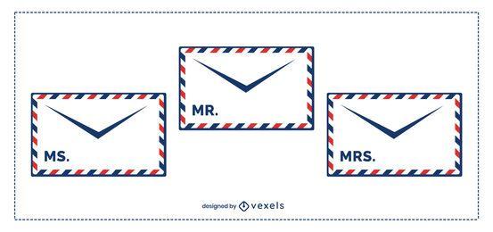 Pacote de modelo de envelope postal