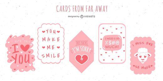 Pacote de Design de Cartões de Amor