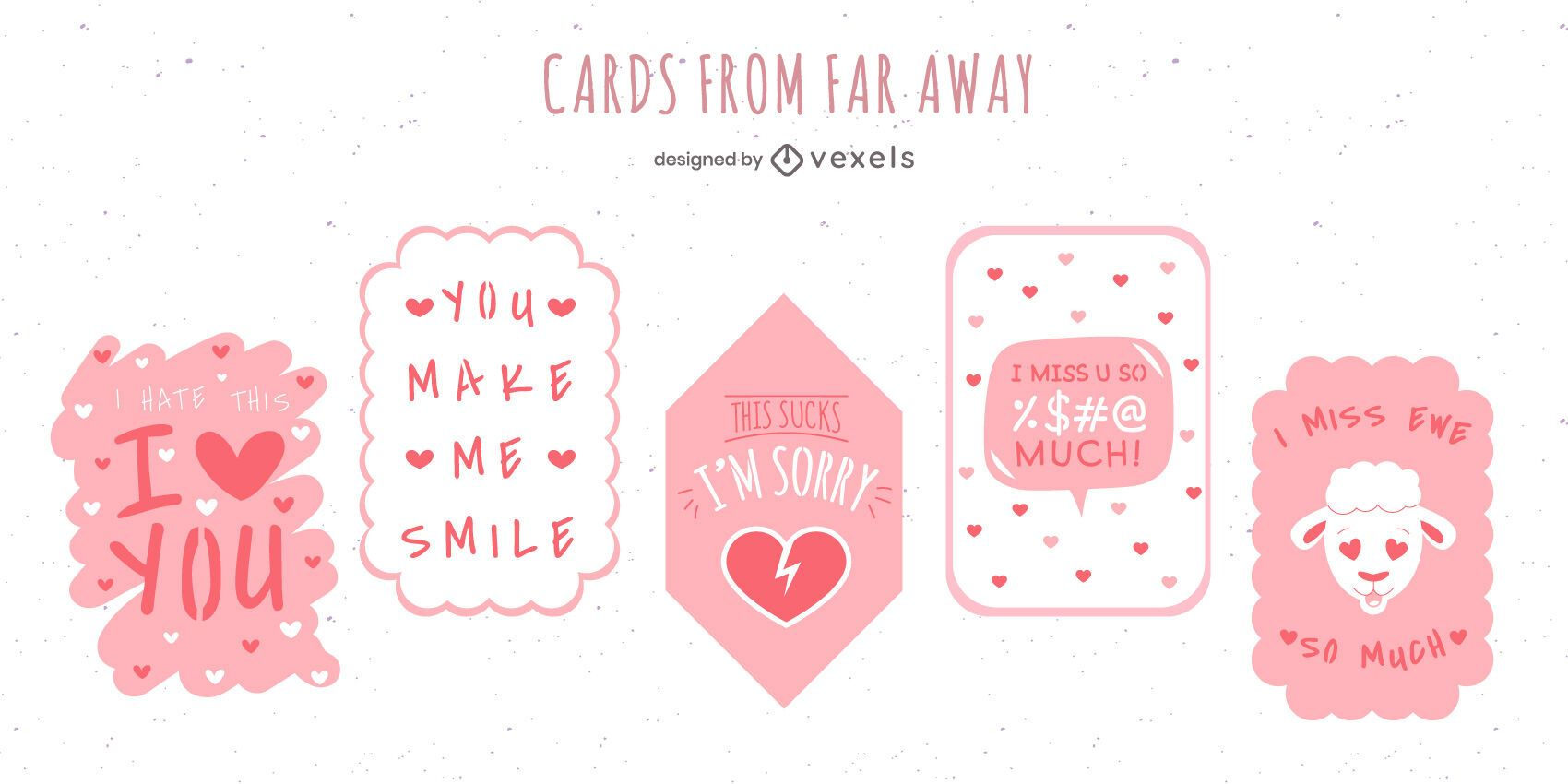 Paquete de diseño de tarjetas de amor