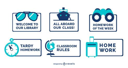 Conjunto de etiqueta de viagem decorativa em sala de aula