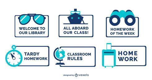 Conjunto de etiquetas de viaje decorativas en el aula