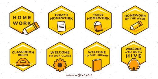 Conjunto de etiquetas de abejas en el aula
