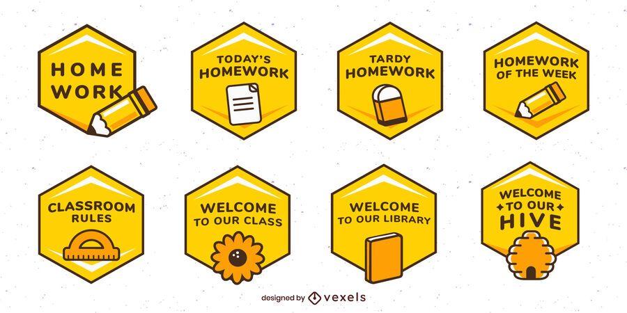 Conjunto de etiqueta de abelha de sala de aula