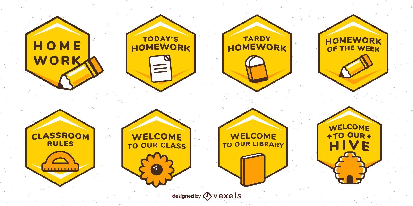 Conjunto de etiquetas de abeja en el aula