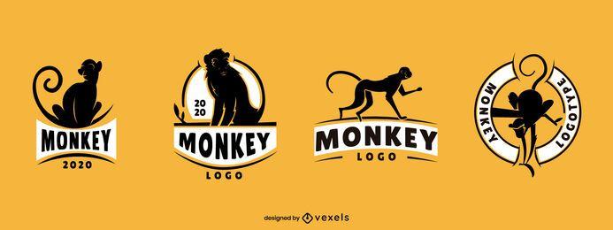 Conjunto de diseño de logotipo de mono