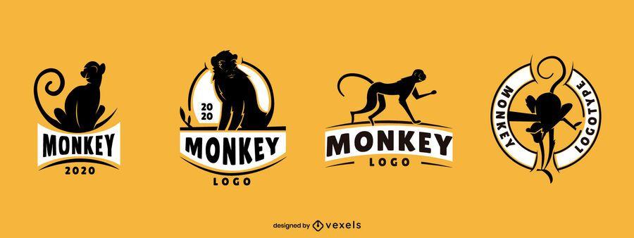 Conjunto de diseño de logo de mono