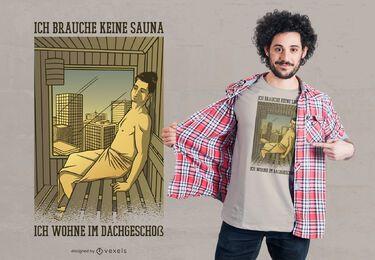 Design de t-shirt alemão citação de sauna