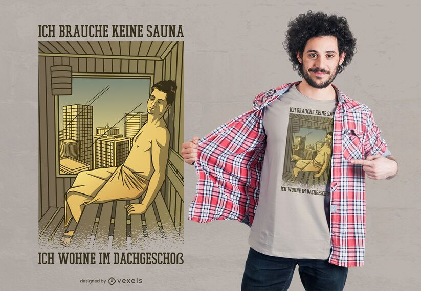 Diseño de camiseta de cita alemana de sauna
