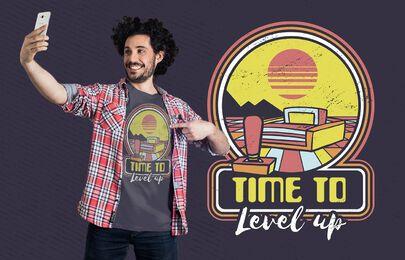 Design de t-shirt retro para consola