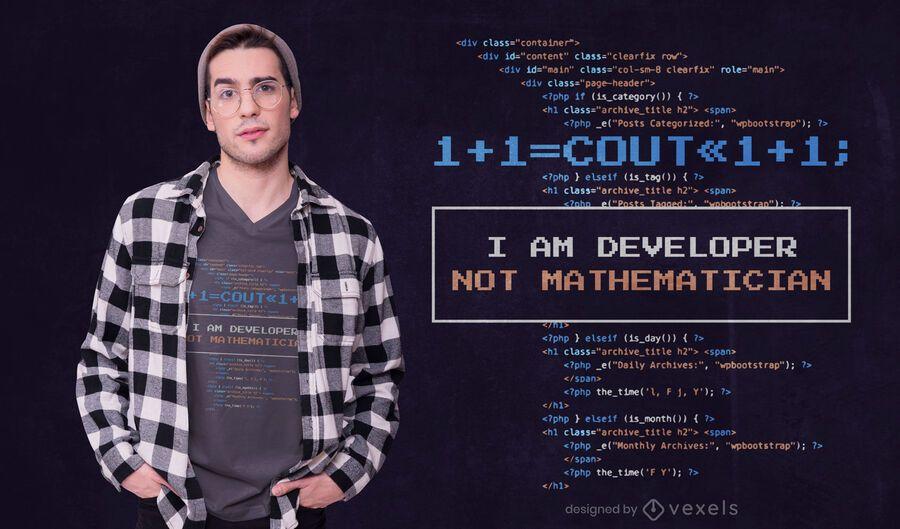 Design de t-shirt de citação de desenvolvedor