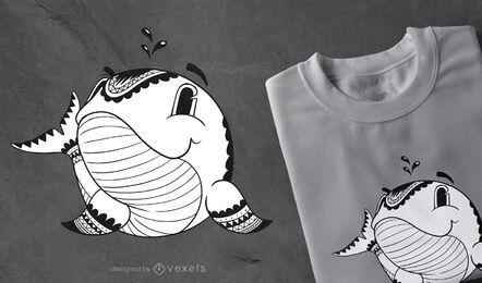 Design de t-shirt de baleia mandala
