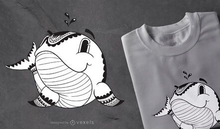 Diseño de camiseta de ballena mandala