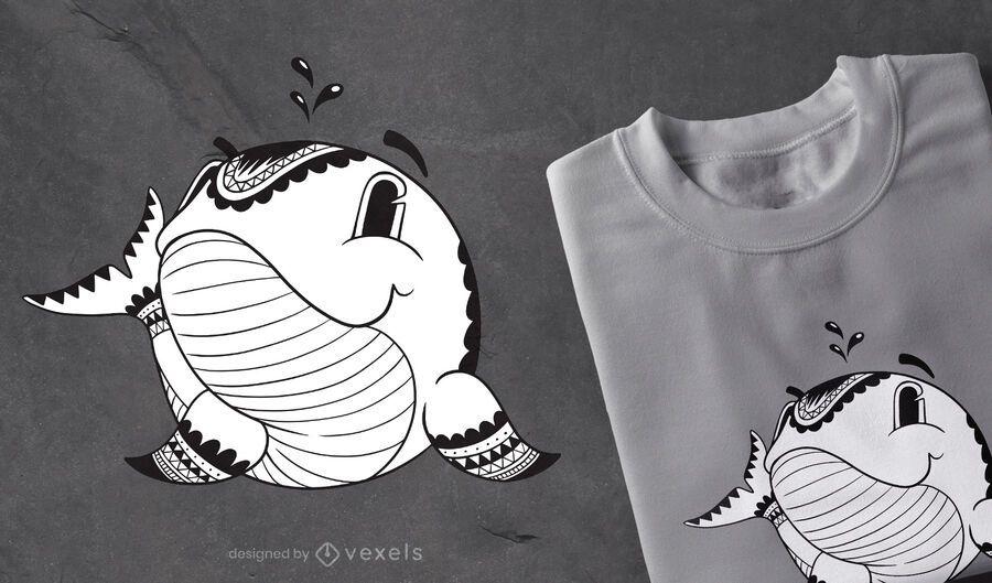 Diseño de camiseta Mandala Whale