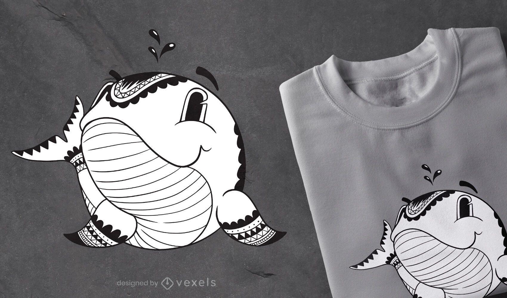 Mandala whale t-shirt design