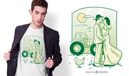 Diseño de camiseta de granja de matrimonio.