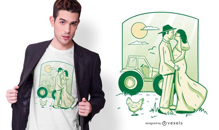 Diseño de camiseta de matrimonio agrícola