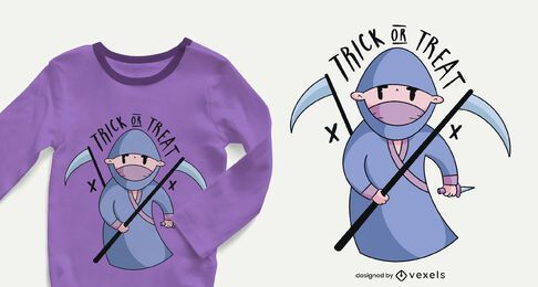 Halloween ninja kid t-shirt design
