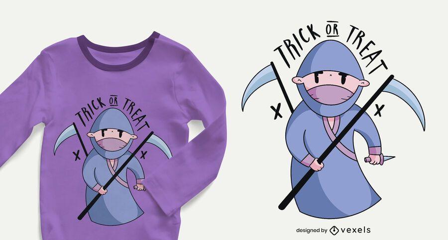 Diseño de camiseta de niño ninja de Halloween