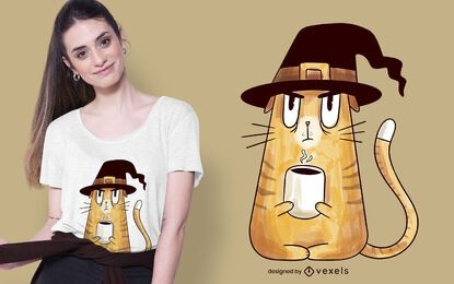Diseño de camiseta gruñón bruja gato