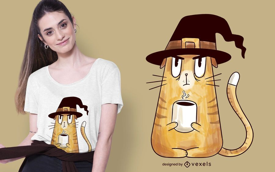 Diseño de camiseta de gato bruja gruñón