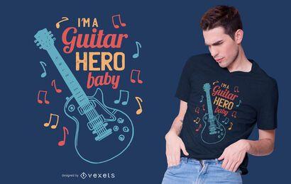 Diseño de camiseta de guitar hero